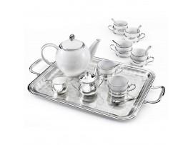 Иг-2051006 Чайный сервиз на 6 персон на подносе (ЧАЙНЫЕ СЕРВИЗЫ ФАРФОРОВЫЕ С СЕРЕБРОМ ФАРФОРОВАЯ ПОСУДА)