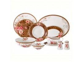 Р-2021/83 Обеденный сервиз Английская роза 27 предметов на 6 перс (6 обед.тарелок, 6 суп.тарелок, 6 зак.тарелок, 1 салатник, 2 салатн AL-M2188/27-E9