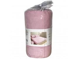 MD-185/г-р Махровая простынь грязно-розовая DÜZ HAVLU  (220*240) +2 наволочки на резинке гладкая